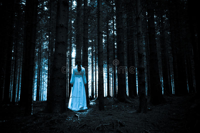 Mysterious girl in dark spooky forest. Woman with long black hair in white dress in the spooky dark forest stock photo