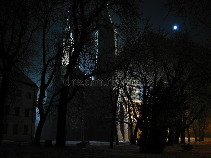 Mysterious gothic cathedral in Plock Poland at night by the moonlight. Cathedral of the Blessed Virgin Mary of Masovia, in PÅ'ock. Mysterious gothic royalty free stock image