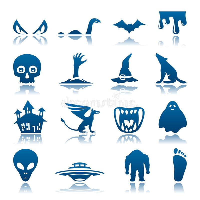 Mysterious and horror icon set stock illustration