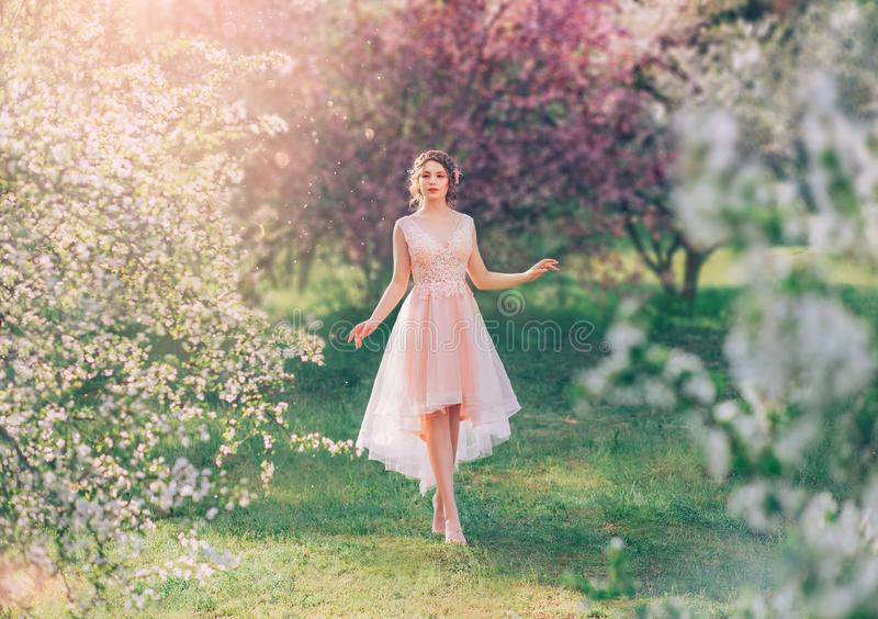 Mysterious lady with dark gathered hair in a light delicate peach dress walks in the blooming garden, the spring fairy royalty free stock photos