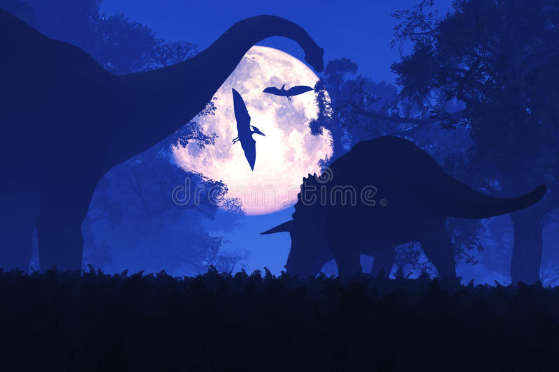 Mysterious Magical Prehistoric Fantasy Forest at Night in the Full Moon royalty free illustration