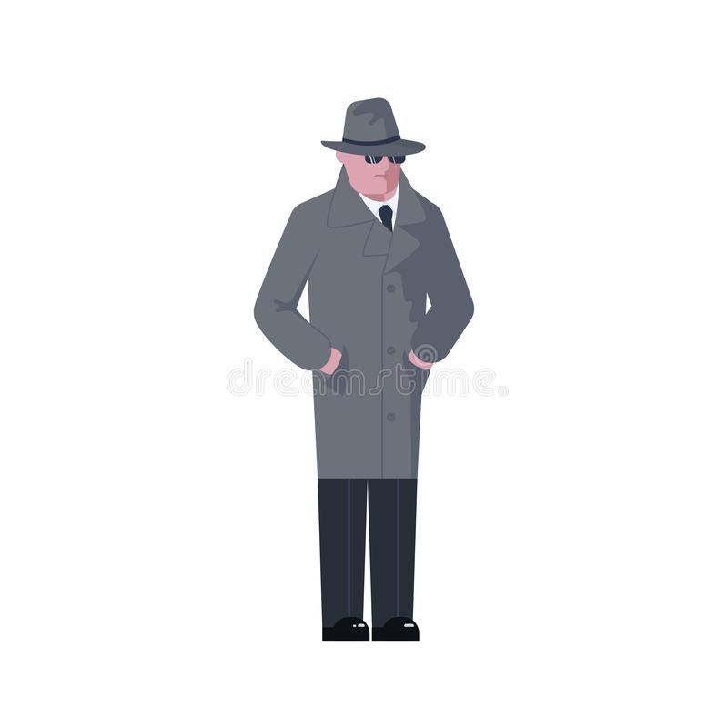Mysterious man wearing a gray hat and coat. With a raised collar isolated on white background. Vector illustration eps 10 royalty free illustration