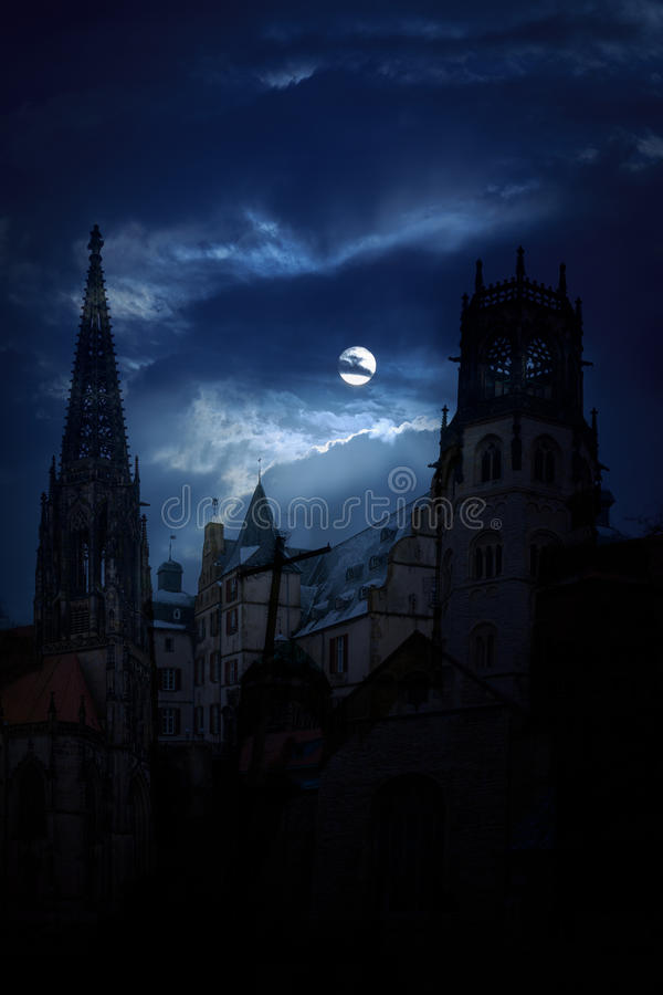 Free Mysterious Medieval Castle And The Cathedral Church At Night Stock Photos - 50324513