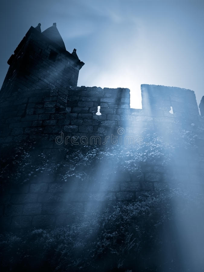 Mysterious medieval castle royalty free stock image