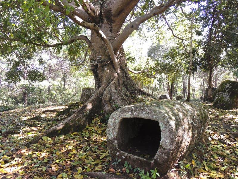 Mysterious megalithic Laos stone jars stock photos