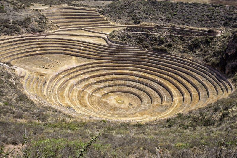 Mysterious Moray Agricultural Terraces of the Incas, Cusco Peru. stock photos