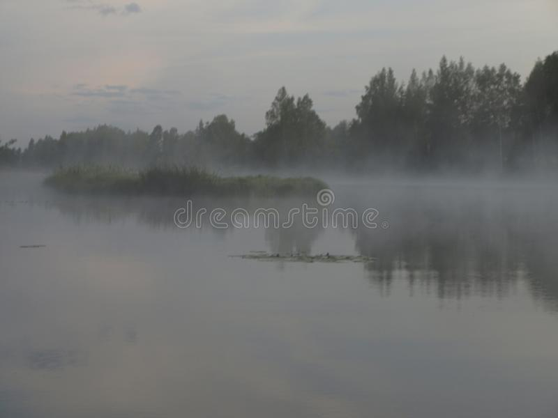 A mysterious morning on the lake, water like a mirror, white mist. Lovely reflections, latvia stock images