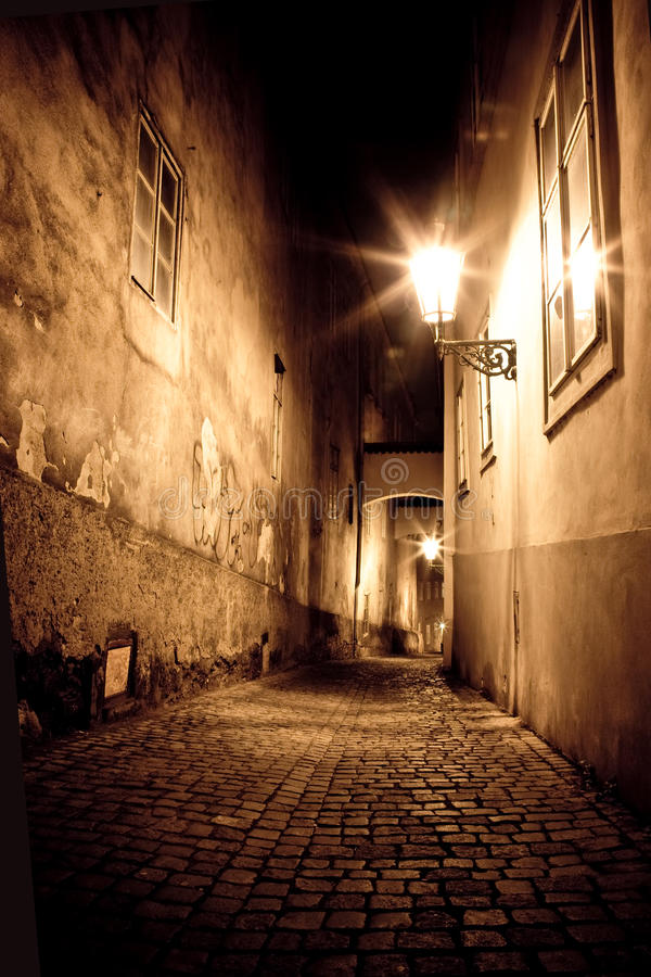 Mysterious narrow alley. In Prague, Czech Republic stock image