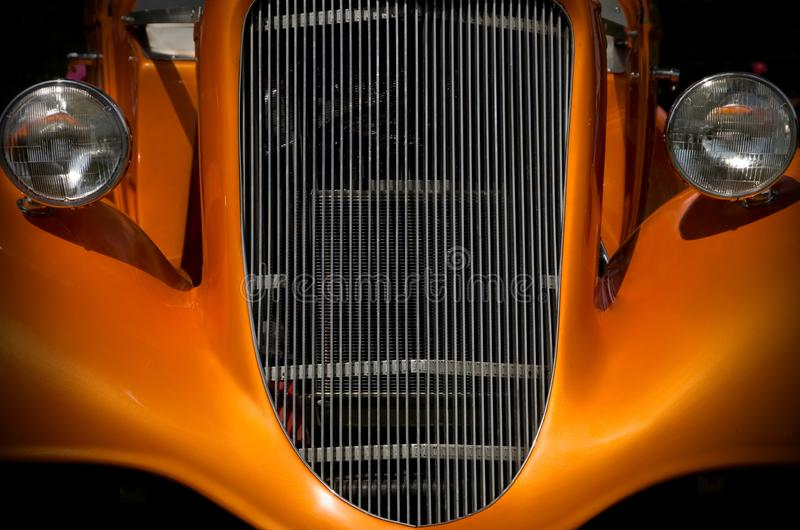 Mysterious Orange Antique Hot-Rod Front Grill stock images