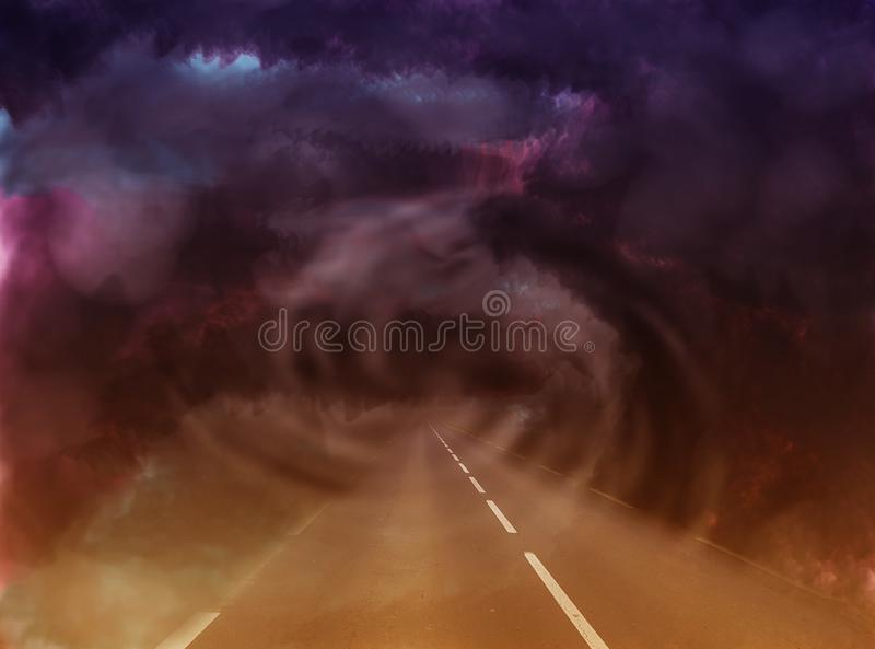 Mysterious road in the abstract world through a gloomy tunnel. In the form of a ghostly spiral stock illustration