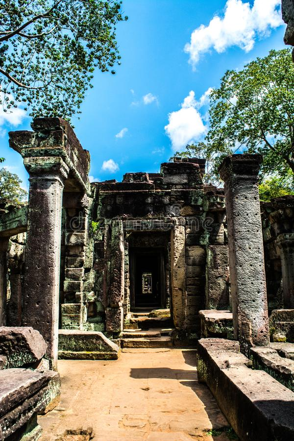 Mysterious ruins of ancient Preah Khan temple. In Angkor, Siem Reap, Cambodia stock image