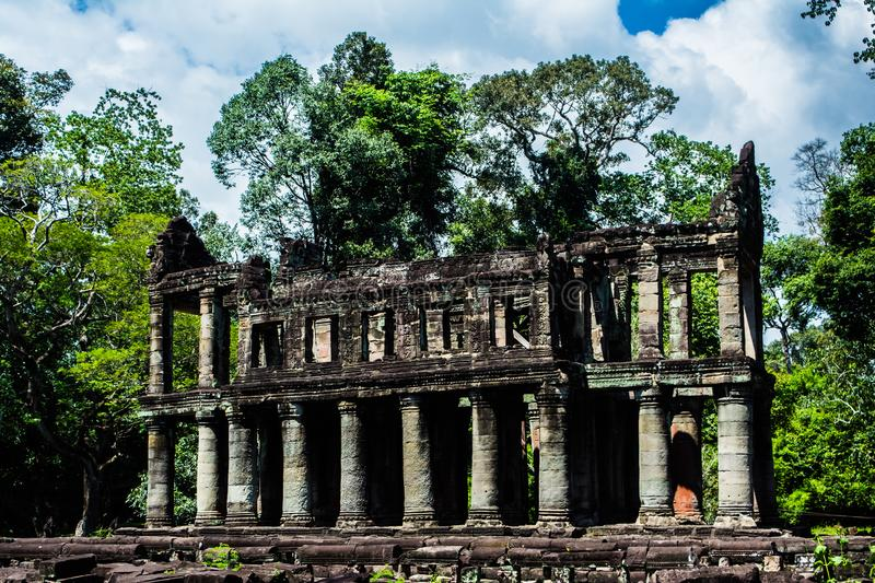 Mysterious ruins of ancient Preah Khan temple. In Angkor, Siem Reap, Cambodia royalty free stock image