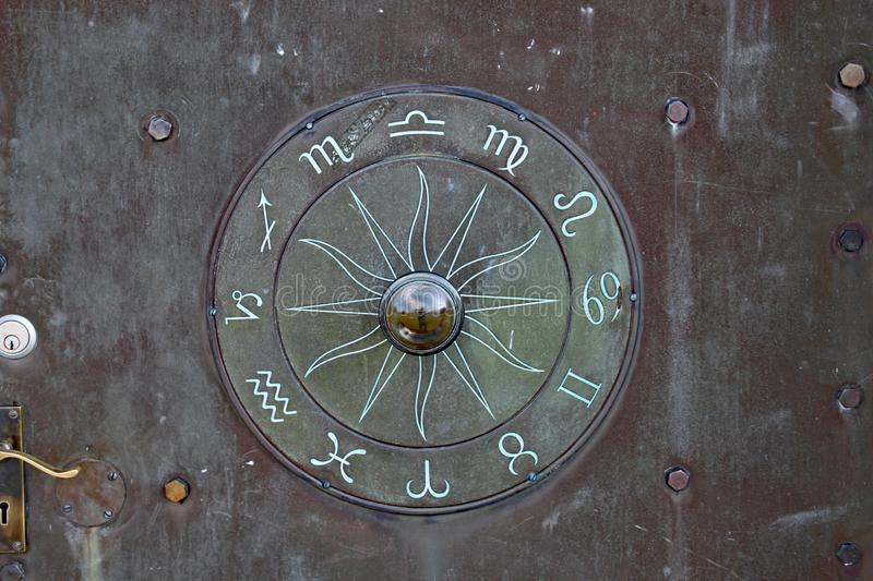 A mysterious rune like symbol on a door at the Norman Lockyer Observatory near Sidmouth Devon.  royalty free stock images