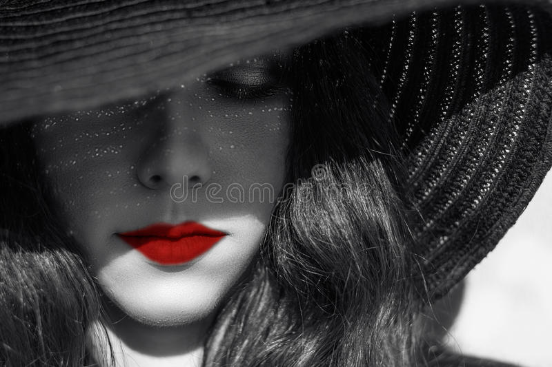 Mysterious Woman In Black Hat. Red Lips. Stock Image ...