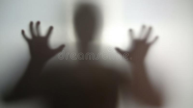 Mysterious silhouette with hands up, going to scare, nightmare person in stress royalty free stock photos