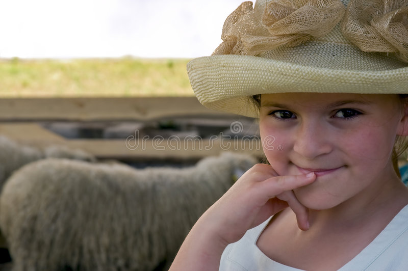 Mysterious smile. Of little young lady royalty free stock image