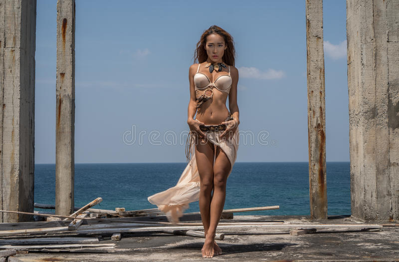 Mysterious tribal woman royalty free stock images
