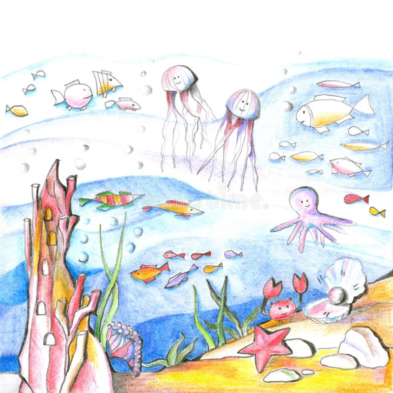 Mysterious undersea world. Drawing with colored pencils for children royalty free illustration