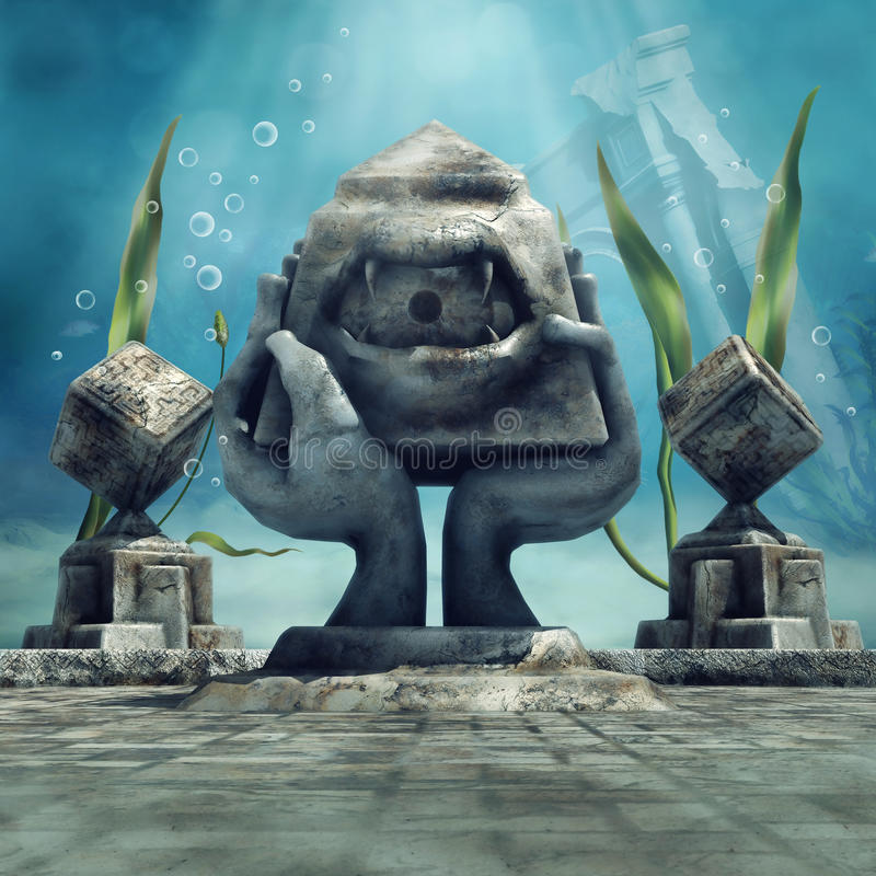Mysterious underwater temple. With a statue with an eye royalty free illustration