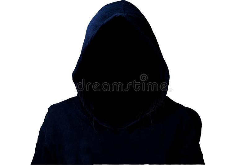 Mysterious, unknown person in the hood. Danger in darkness with clipping path. Isolated on white background royalty free stock image