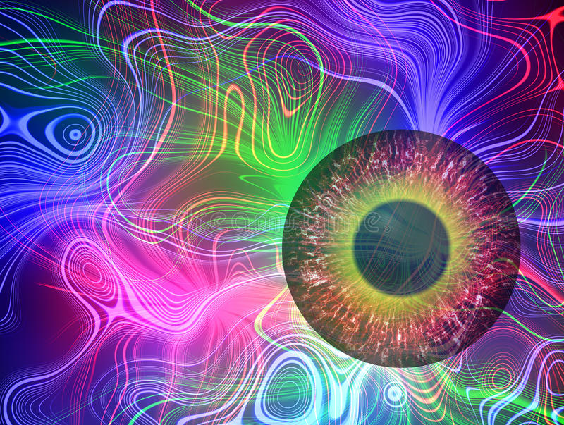 Mysterious view. Magic eye. Abstract plasma discharge as a background. Psychedelic color image. Abstract bright plasmatic texture on black background stock illustration