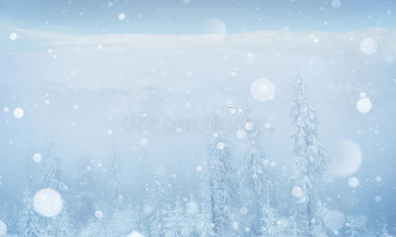 Mysterious winter landscape majestic mountains in the royalty free stock image