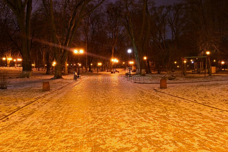 Mysterious winter view of Mariyinsky Park in the early morning. Winding path with a row of lamps. Little snow. Kyiv. Ukraine stock image