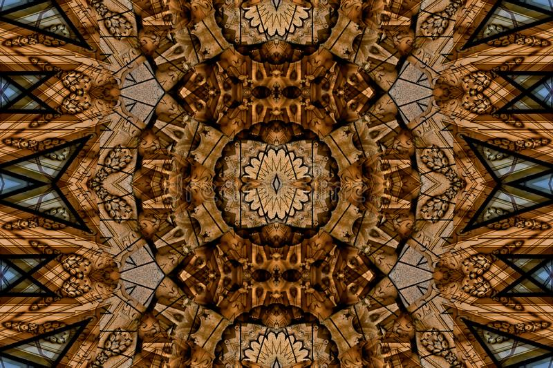 Mysteriously digital art design of interlocking circles and triangles royalty free illustration