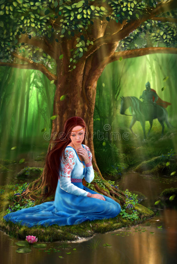 Mystery Fairytale Maiden And Prince In The Forest Stock Image