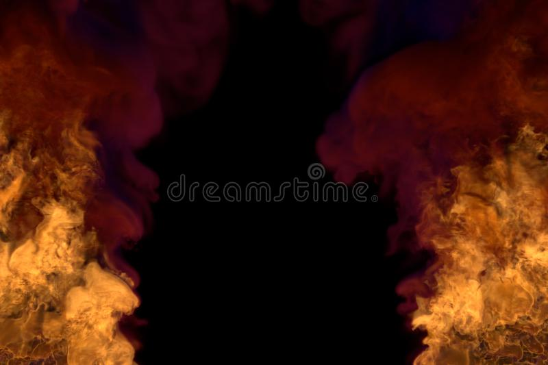 Flame from both picture bottom corners - fire 3D illustration of flaming explosion, frame with dark smoke isolated on black. Mystery blazing fireplace on black stock images
