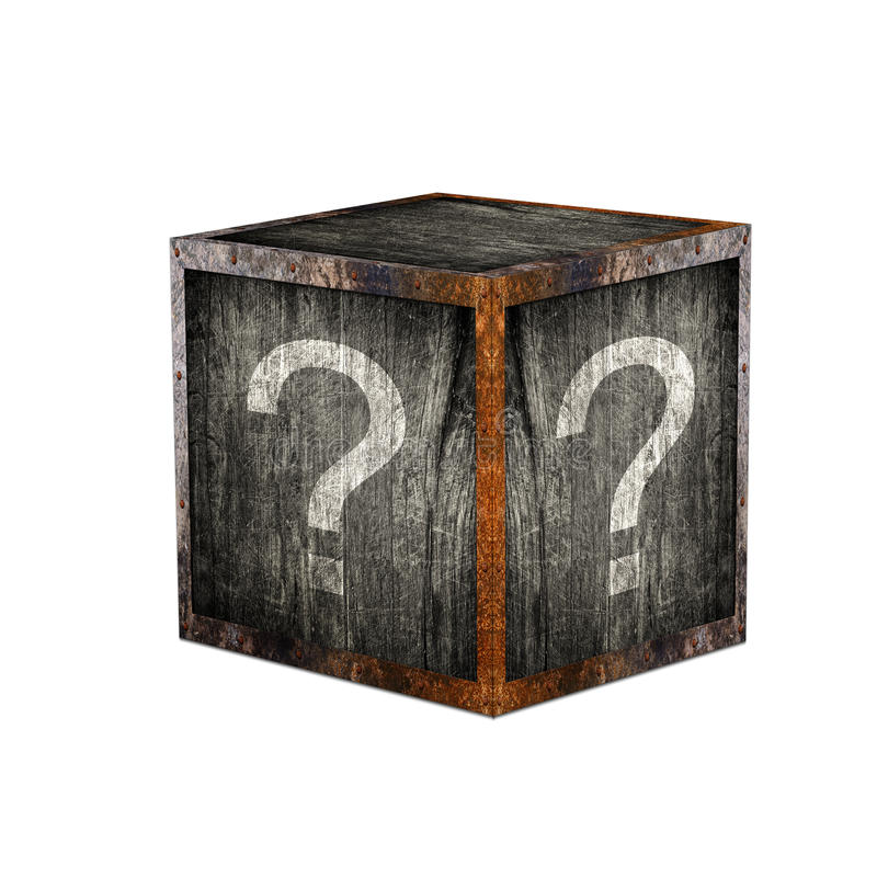 Mystery box. Wooden mystery box with question marks stock photos