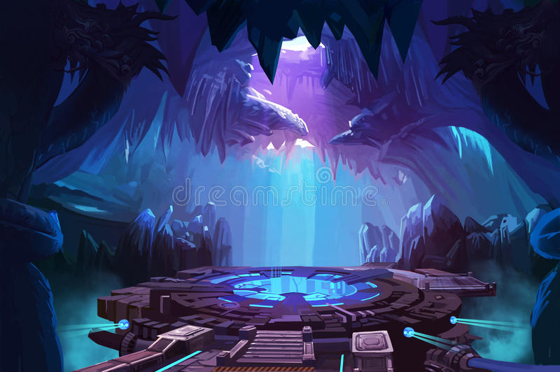 Mystery Cave with Sci-Fi Building. Video Games Digital CG Artwork, Concept Illustration, Realistic Cartoon Style Background vector illustration
