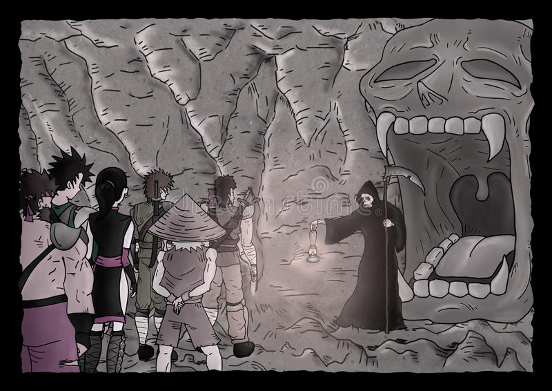 Mystery cavern illustration. Design of mystery cavern illustration royalty free illustration