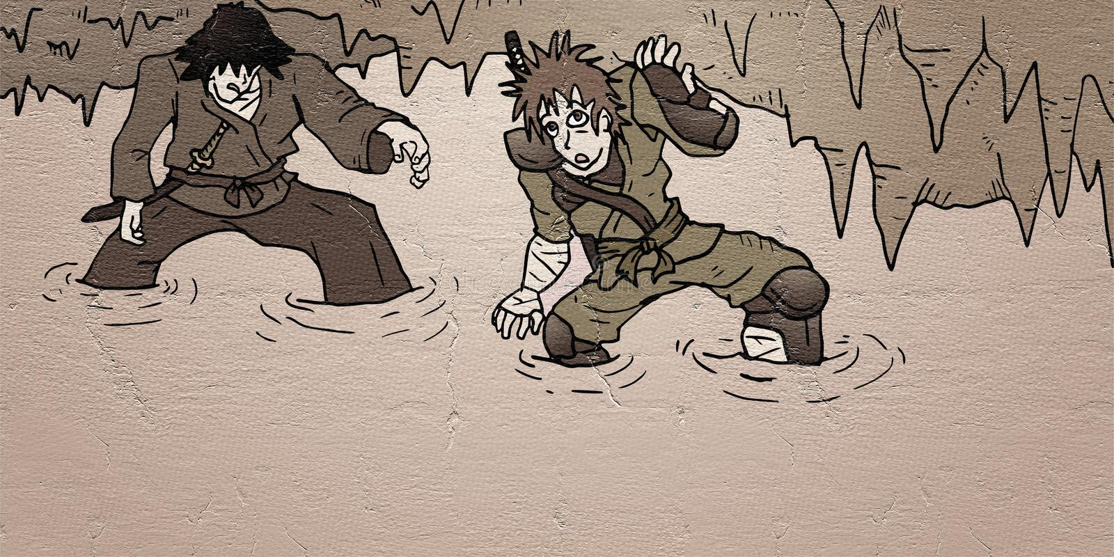 Mystery cavern. Two characters in mystery cavern royalty free illustration