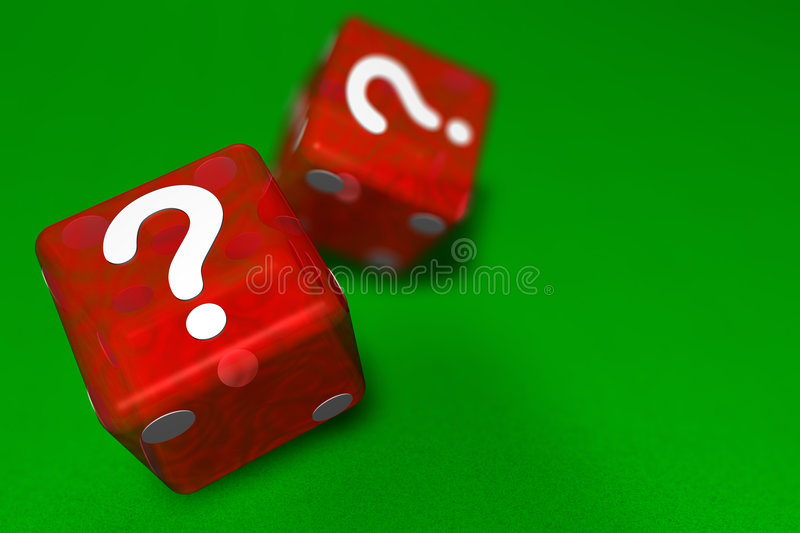 Mystery Dice. Two red casino dice landing question mark sided up on green cloth suggesting mystery with shallow depth of field and copy space royalty free illustration