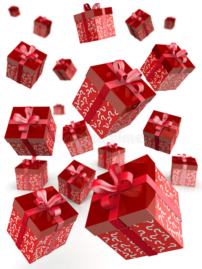 Mystery gift and surprises concept stock illustration