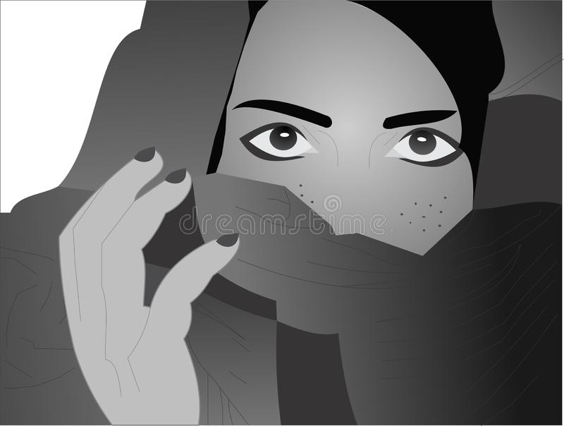 Mystery girl in black and white royalty free stock photography