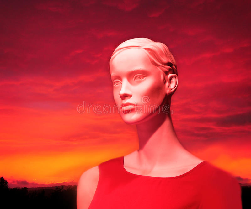 Mystery lady in red royalty free stock images
