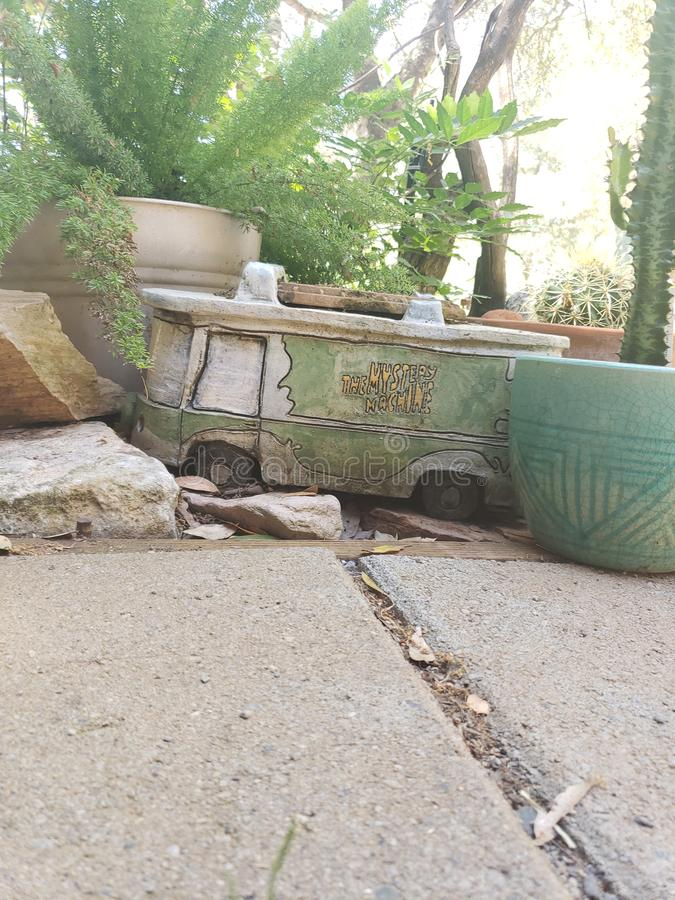 Mystery machine in the garden royalty free stock photo