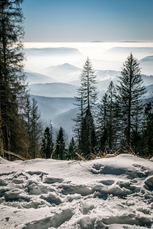 Mystery mountains in the winter stock photos