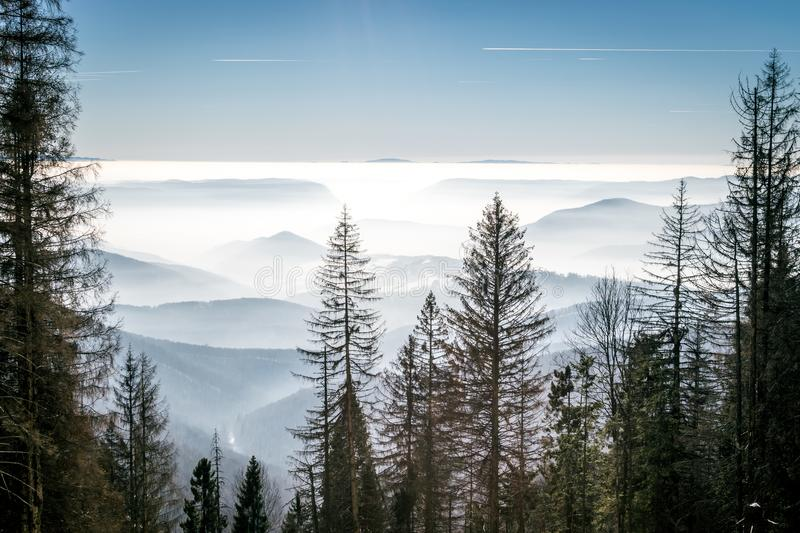 Mystery mountains in the winter royalty free stock photo