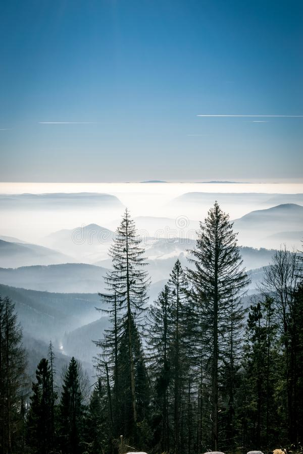 Mystery mountains in the winter royalty free stock photography