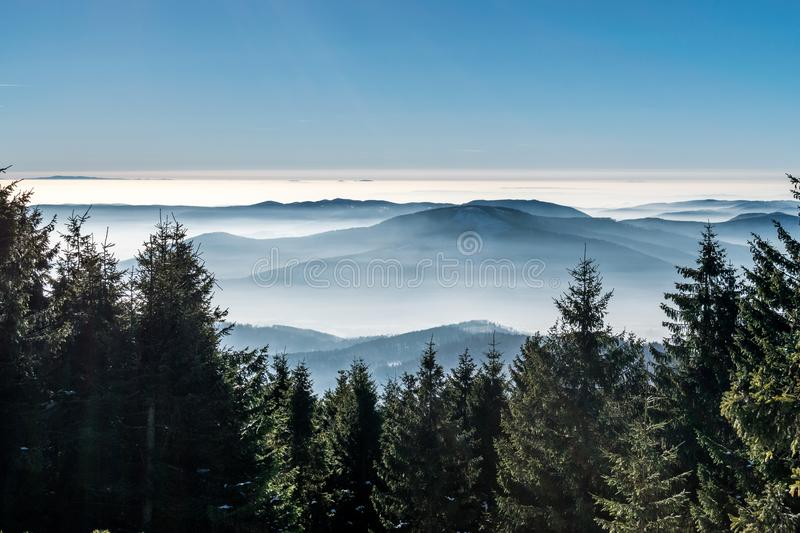 Mystery mountains in the winter royalty free stock photos