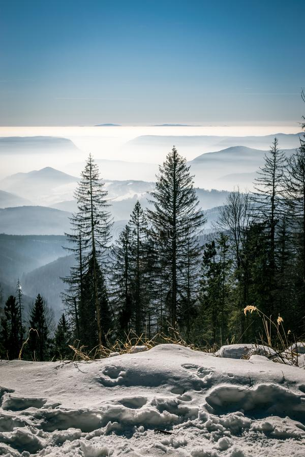 Mystery mountains in the winter stock photography