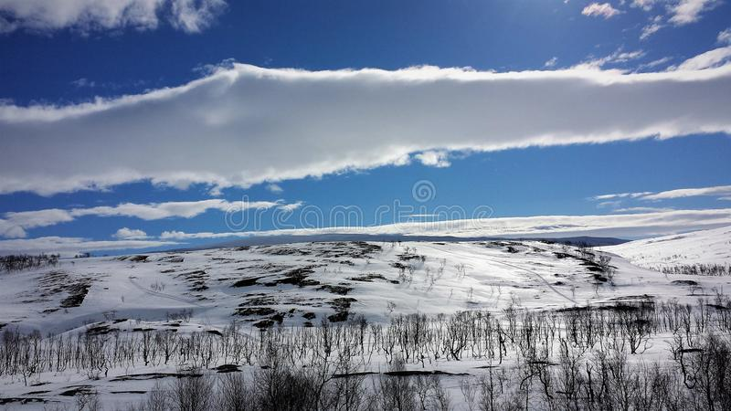 mystery mountains in winter stock photo