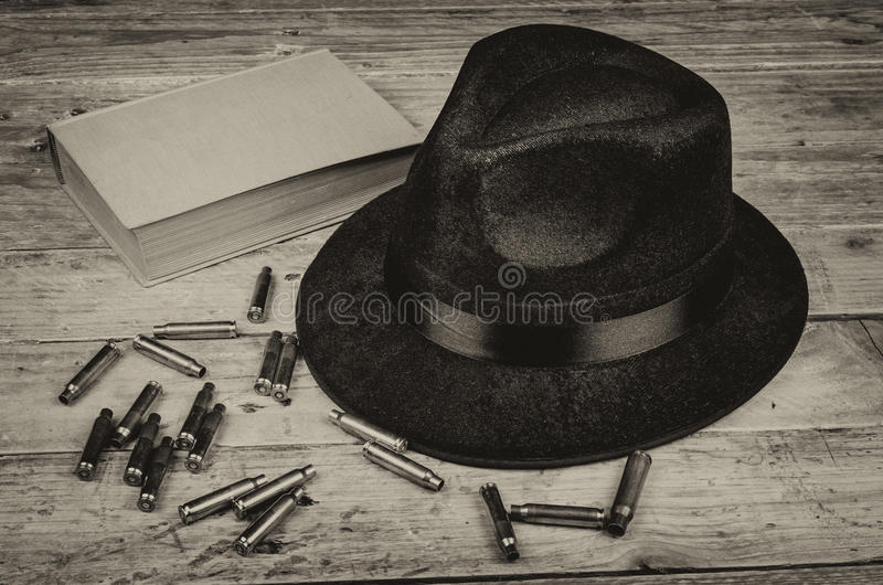 Mystery novels. A conceptual still life standing for the crime and mystery novel genre stock photos