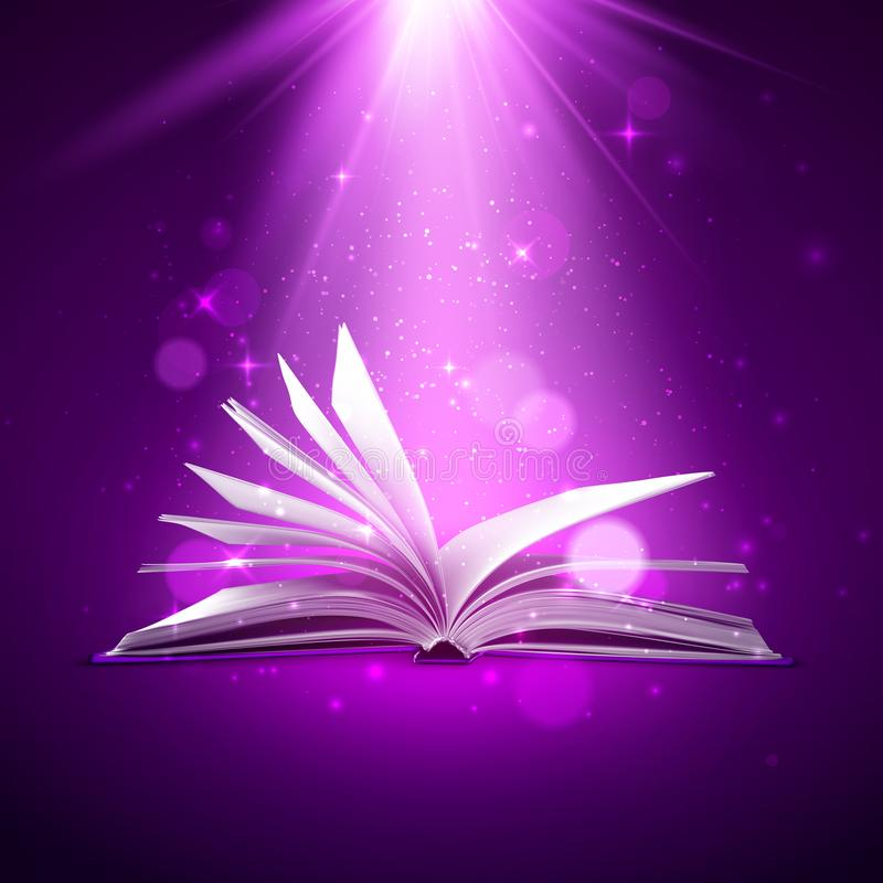 Mystery open book. Fantasy book with magic light and sparkles. Vector illustration royalty free illustration