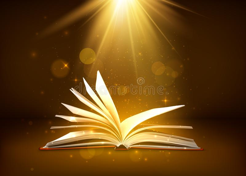 Mystery open book with shining pages in brown colors. Fantasy book with magic light sparkles and stars. Vector illustration.  royalty free illustration