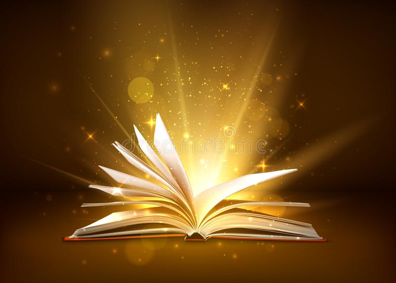 Mystery open book with shining pages. Fantasy book with magic light sparkles and stars. Vector illustration.  vector illustration