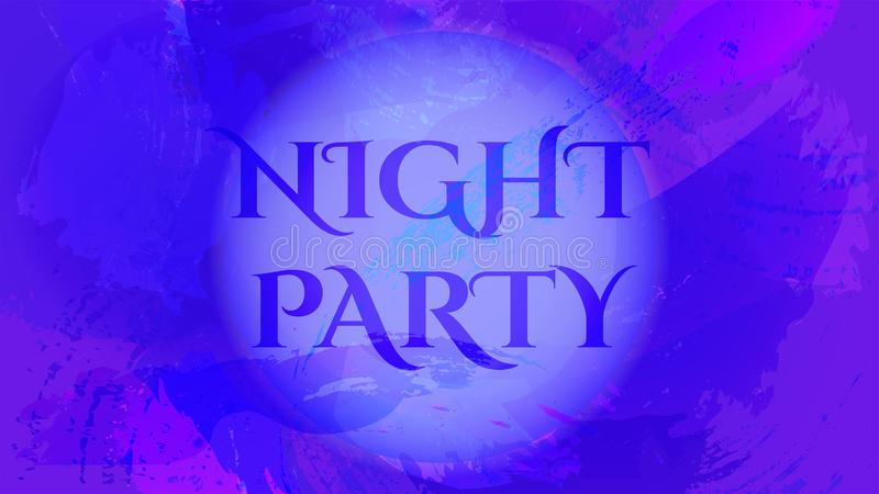 Mystery purple background with Night party text stock illustration